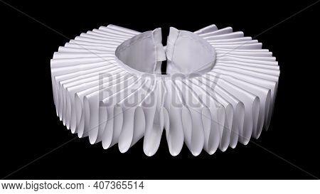 White Ruff Or Ruffled Or Millstone Collar Isolated On Black Background - Historic Renaissance Fashio