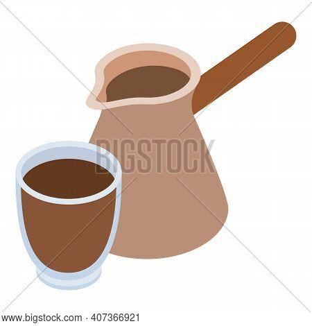 Turkish Coffee Icon. Isometric Illustration Of Turkish Coffee Vector Icon For Web