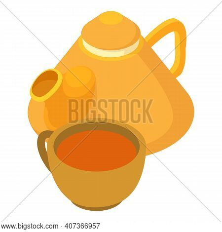 Ginger Tea Icon. Isometric Illustration Of Ginger Tea Vector Icon For Web