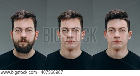 Smooth. Collage Of Man Before And After Visiting Barbershop, Clients Delighted With Different Haircu
