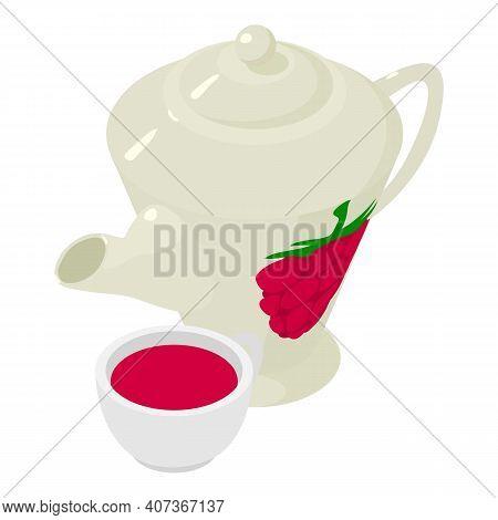 Raspberry Tea Icon. Isometric Illustration Of Raspberry Tea Vector Icon For Web