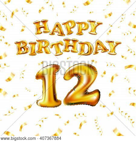 12 Happy Birthday Message Made Of Golden Inflatable Balloon Twelve Letters Isolated On White Backgro