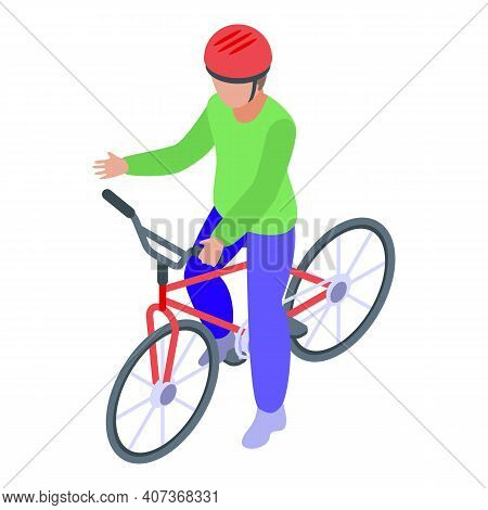 Biker Kid Cycling Icon. Isometric Of Biker Kid Cycling Vector Icon For Web Design Isolated On White