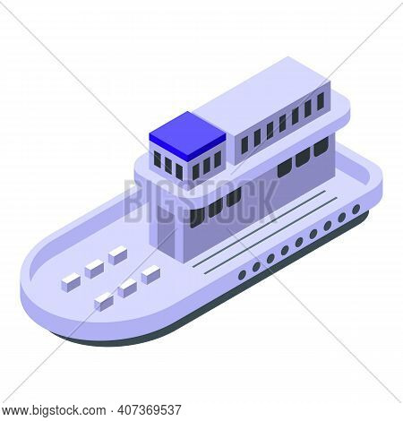 Ferry Boat Icon. Isometric Of Ferry Boat Vector Icon For Web Design Isolated On White Background