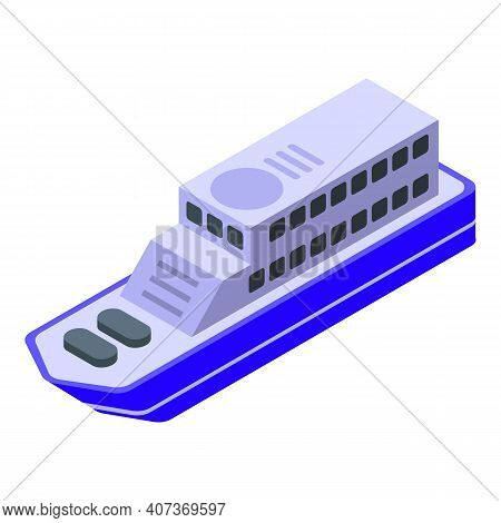 Ferry Vehicle Icon. Isometric Of Ferry Vehicle Vector Icon For Web Design Isolated On White Backgrou