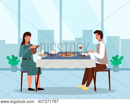 Couple Is Eating Traditional Georgian Food. People In A Relationship On A Date In A Georgian Restaur