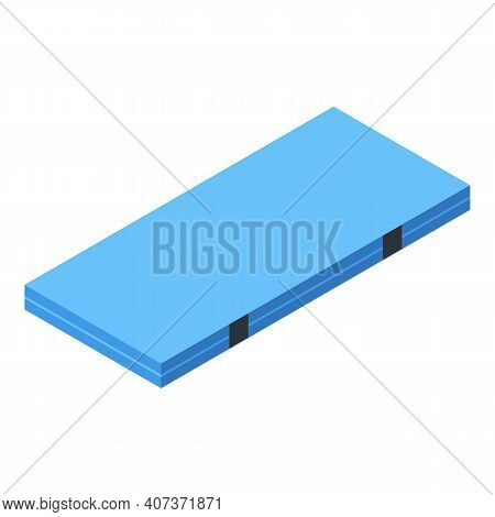 School Gym Mattress Icon. Isometric Of School Gym Mattress Vector Icon For Web Design Isolated On Wh