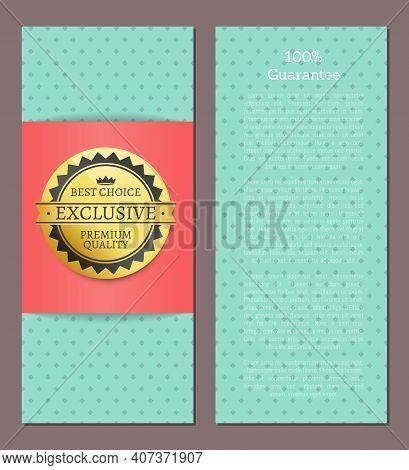 Best Choice Golden Label, Blue Vector Template For Double-sided Postcard Premium Quality Reward. Des