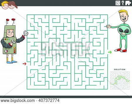 Cartoon Illustration Of Educational Maze Puzzle Game For Children With Boys At Costume Party