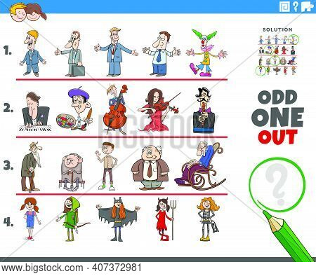 Cartoon Illustration Of Odd One Out Picture In A Row Educational Game For Elementary Age Or Preschoo