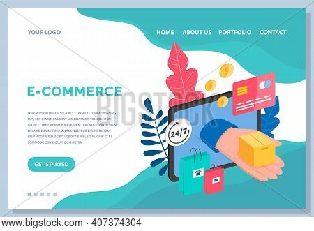 Online Shopping And Business Software. Convenience Store On The Internet. Web Site With E-commerce O