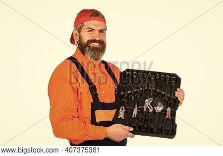 Professional Equipment. Really Good Tools. Toolbox Talk. Mechanic Tool Box. Man In Uniform Carries T