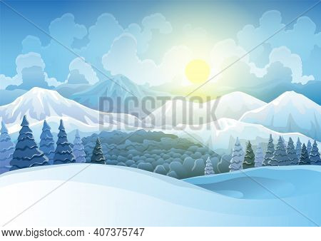 Winter Mountains Snowy Landscape With Pines Forest And Hills On Background. Vector Drawing Of Snow-c