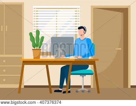 Businessman Work As A Call Center With Headphone Sitting At A Table With Computer In Office Room. Cu