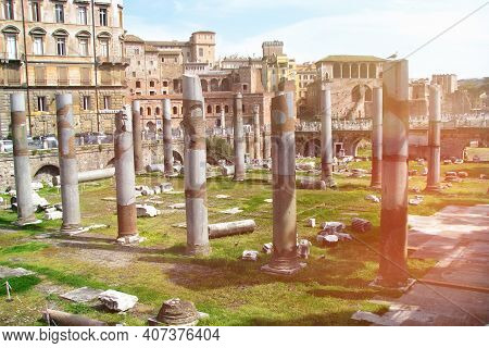 The Forum Of Trajan In Rome. The Ruins Of The Remaining Ancient Forum. Colonnade Of The Ancient Foru