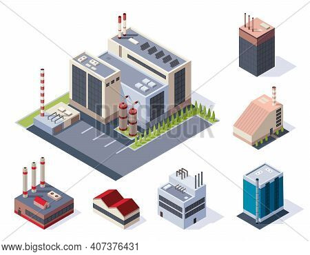 Factory Isometric. Concept Of Industrial Working Plants With Chimney Tower. Industrial Buldings. 3d