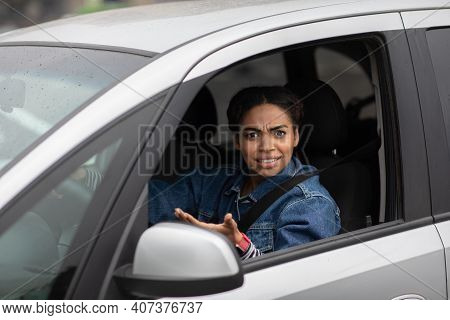 Conflict, Difficulties And Problems On City Road. Excited Angry Millennial African American Lady Dri