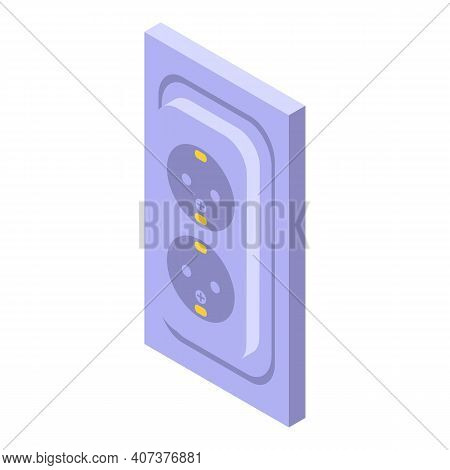 Energy Socket Icon. Isometric Of Energy Socket Vector Icon For Web Design Isolated On White Backgrou