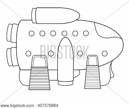 The Spacecraft Is On The Surface With Open Locks And Gangways. Spaceship - Vector Linear Picture For