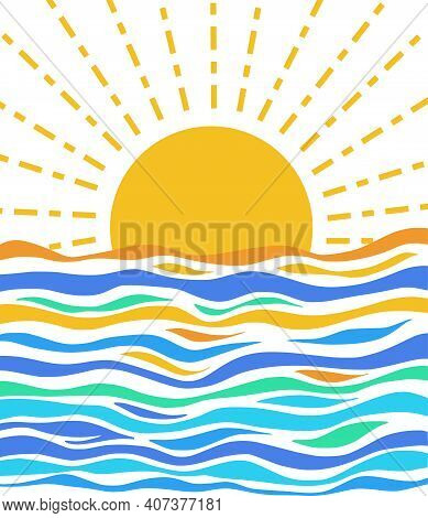 A Simple Illustration Of The Sun Rising Over The Sea.