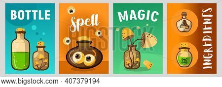 Trendy Poster Designs With Magic Potions. Vivid Brochures With Magical Ingredients In Bottles On Bri