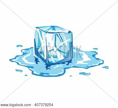 Water Ice Cube Icon. Frozen Melting Water Particle. Translucent Ice Cube In Blue Color. Realistic Bl
