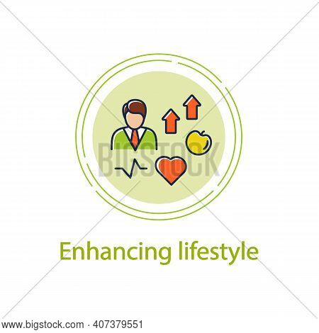 Lifestyle Enhancing Concept Line Icon. Personal Growth Concept. Self Improvement And Self Realizatio