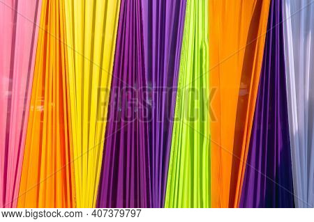 Beautiful Multi-colored Curtains Decorated As A Backdrop For The Buddhist Ceremonies In Southeast As