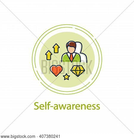 Self Awareness Improving Concept Line Icon. Self Cognition. Introspection. Self Improvement And Self