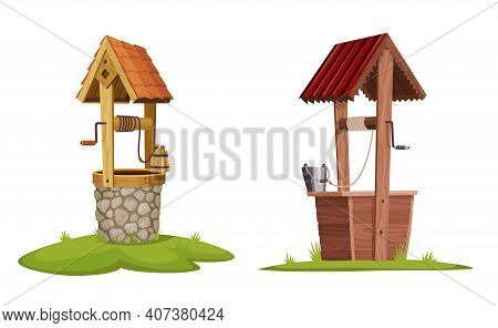 Old Water Wells Made Of Stone And Wood. Village Well With A Rope, A Bucket And Wooden Elements. Colo