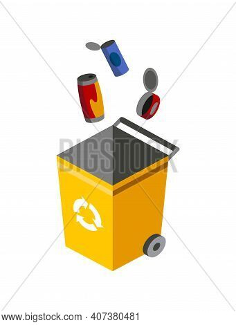 Garbage Can For Sorting. Recycling Elements. Colored Waste Bin With Metal Trash. Separation Of Waste