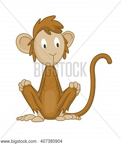 Cute Funny Monkey Colorful Cartoon Illustration. Vector Little Chimpanzee. Wildlife Character. Great