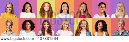 Creative Set Of Beautiful Multiracial Women Portraits On Bright Colorful Backgrounds, Panorama. Happ