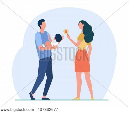 Happy Parents Playing With Newborn. Toy, Mother, Infant Flat Vector Illustration. Parenthood And Chi