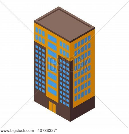 Residential Building Icon. Isometric Of Residential Building Vector Icon For Web Design Isolated On