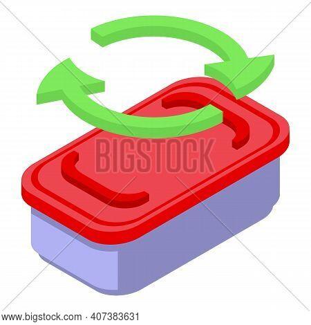 Biodegradable Plastic Container Icon. Isometric Of Biodegradable Plastic Container Vector Icon For W