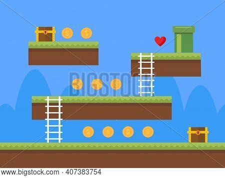 Old Retro Video Game Background. Platform Arcade Game Design. Vector Stock