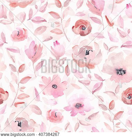 Seamless pattern with pink flowers and leaves on pink background. Watercolor floral pattern, flower rose in pastel color, tileable for wallpaper, card or fabric.