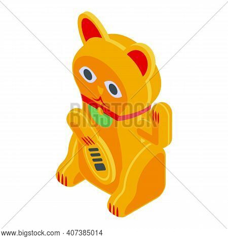 Golden Lucky Cat Icon. Isometric Of Golden Lucky Cat Vector Icon For Web Design Isolated On White Ba