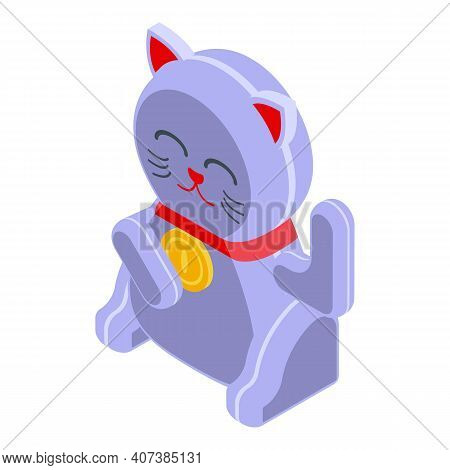 Traditional Lucky Cat Icon. Isometric Of Traditional Lucky Cat Vector Icon For Web Design Isolated O
