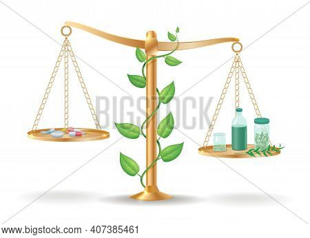 Alternative Medicine Libra Balance Concept With Drugs Pills On One Side And Natural Herbs And Plants