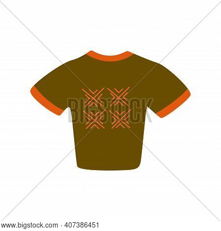 Cropped T-shirt With Abstract Geometric Print. Scandinavian Print. Colorful Hand Drawn Vector Isolat