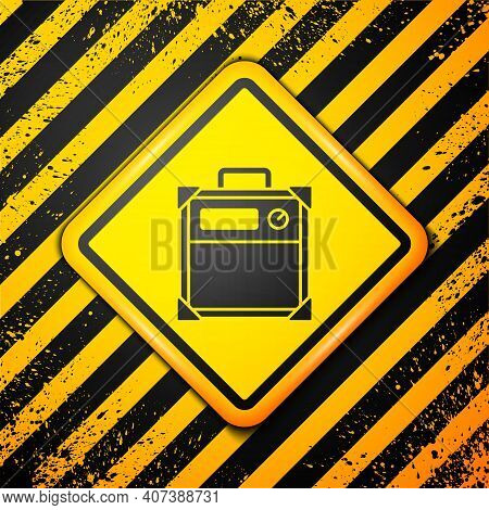 Black Guitar Amplifier Icon Isolated On Yellow Background. Musical Instrument. Warning Sign. Vector