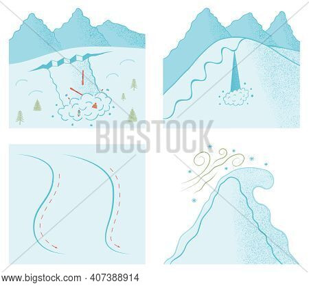Different Snowslide Types. Color Vector Illustration Of Sluff, Slab Avalanches And Cornice