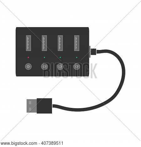 Professional Usb Hub With Usb Ports, Indicators And A Switch On Each Port And A Cable. A Splitter Fo
