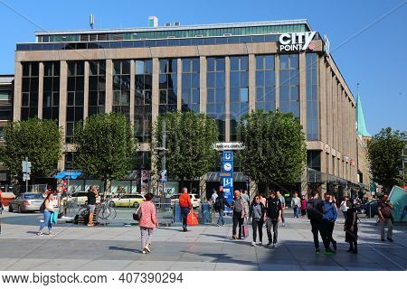 Bochum, Germany - September 17, 2020: People Visit Downtown Bochum, Germany. Bochum Is The 16th Larg