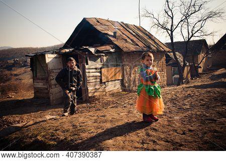 Serednie, Ukraine - March 09, 2011: Total Poverty And Hopelessness Of Romani Children