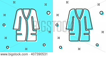 Black Line Bathrobe Icon Isolated On Green And White Background. Random Dynamic Shapes. Vector