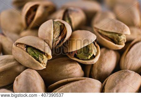 Macro Of Open Pistachio Nuts. Selective Focus