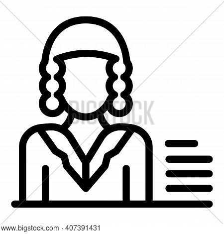 Court Judge Icon. Outline Court Judge Vector Icon For Web Design Isolated On White Background